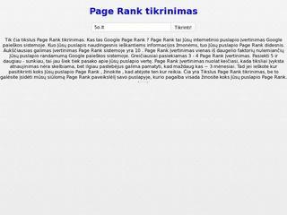 Page Rank tikrinimas