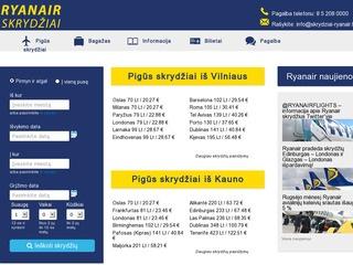 Informacija apie Ryanair bilietų paiešką